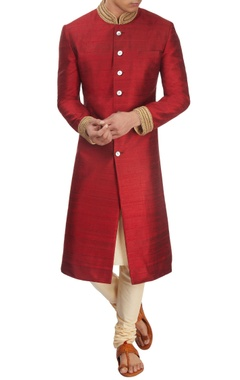 Maroon sherwani with kurta & churidar
