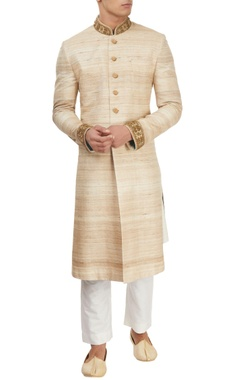 Beige sherwani with kurta & churidar