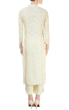 Ivory & green kurta set with chikankari embroidery