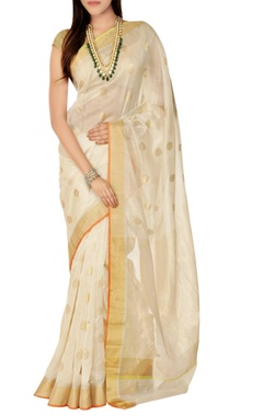 Mint N' Oranges Off-white sari with blouse piece