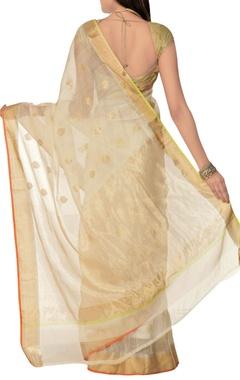 Off-white sari with blouse piece
