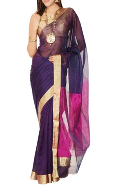 Mint N' Oranges Purple & pink sari with blouse piece