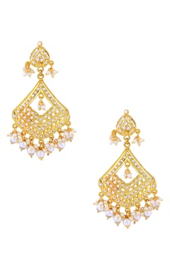 White beaded gold earrings