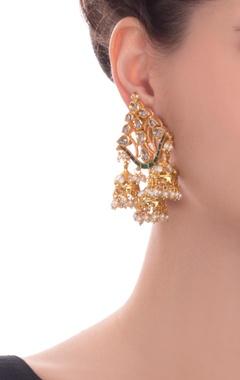 Green kundan earrings