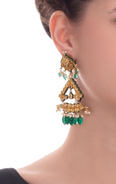 Gold & green earrings