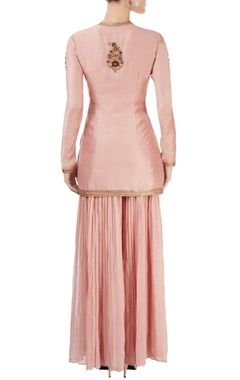 Pink sharara set with embroidery