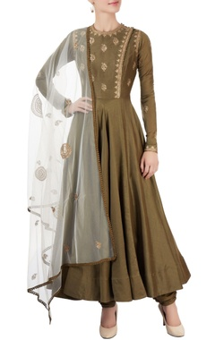 Green embroidered anarkali set