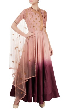 Pink & wine shaded anarkali set