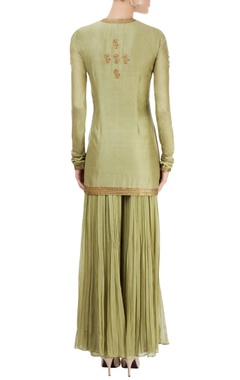 Olive green embroidered gharara set