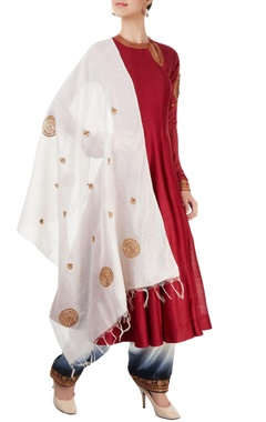 Red & white embroidered anarkali set