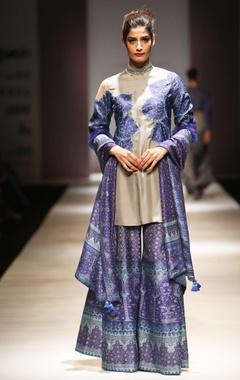 Grey & blue applique kurta set