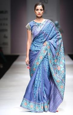 Turquoise & cerulean blue sari & blouse