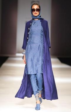 Blue printed kurta & churidar with long coat