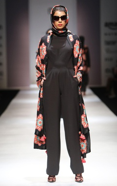black jumpsuit with applique work shawl