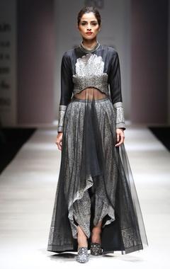 Black & white asymmetric kurta & dhoti pants