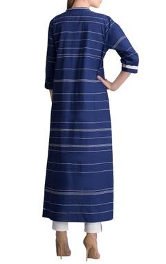 Indigo high low striped kurta with pants