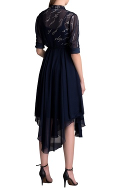 Navy asymmetric tunic with front over lap
