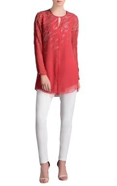 Red & silver embellished shirt