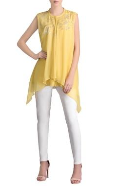 Lime yellow & silver sleeveless embellished shirt