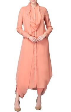 Peach kurta set with sequin embellishments
