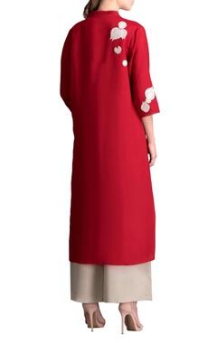 Red applique work kurta & palazzo pants