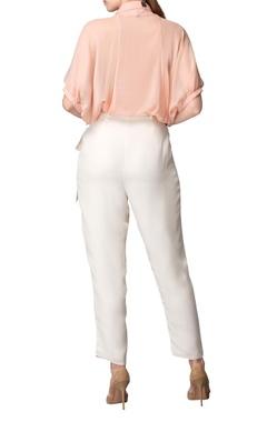 Blush pink applique work shirt