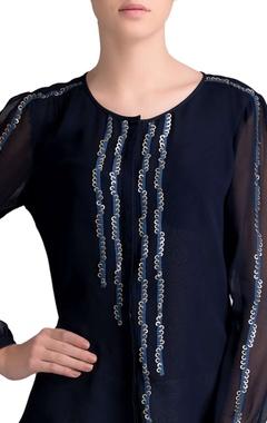 Navy blue embellished yoke shirt
