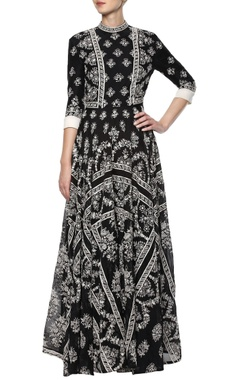 Black hand embroidered dress