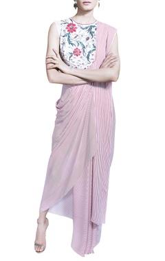 red & white striped draped sari