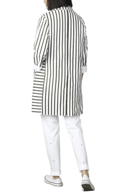 White jacket with olive green stripes