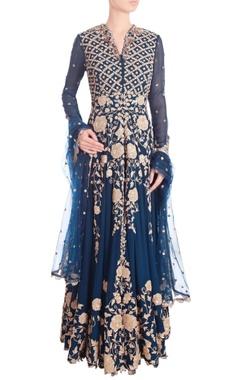 Dark blue embellished kaladana set