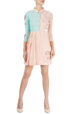 blush pink & aqua blue shirt dress