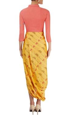 coral pink & yellow draped dress