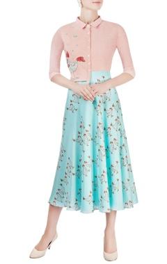 Blush pink & aqua blue midi dress