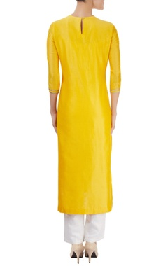 Marigold yellow kurta with hand cut appliques