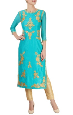 Turquoise blue kurta with appliques