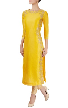 Marigold yellow applique kurta
