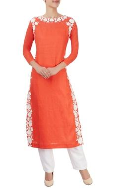 Orange kurta with hand cut appliques