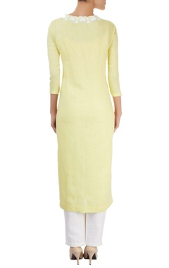 Pastel yellow kurta with hand cut appliques