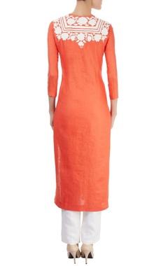 Orange kurta with appliqued bodice