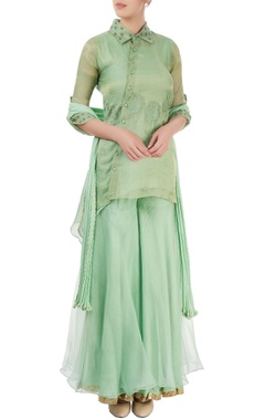 aqua green embroidered sharara set