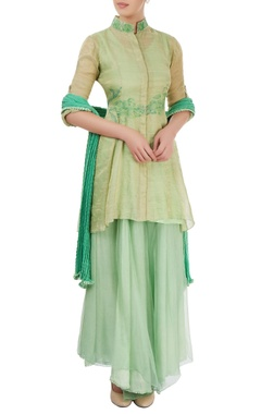 aqua green hand painted kurta set