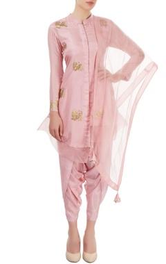 Pink hand painted dhoti set