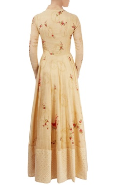 light gold hand painted anarkali set with sequin work