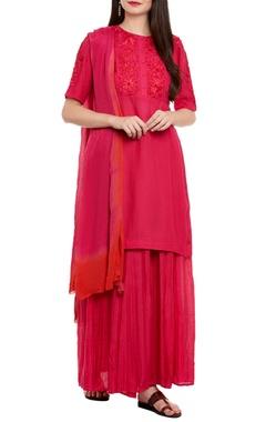 pink kurta set with skirt