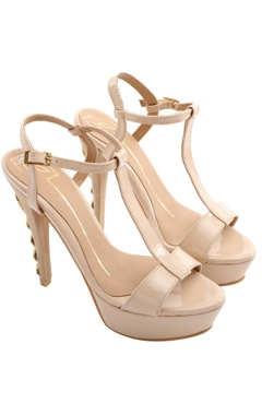 Beige t-strap stilettos with stone work