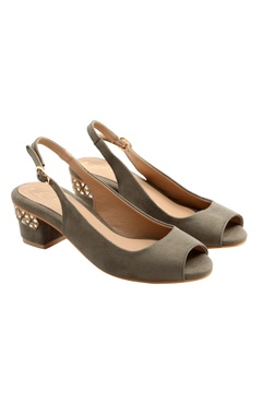 Nidhi Bhandari Grey block heels with stone work
