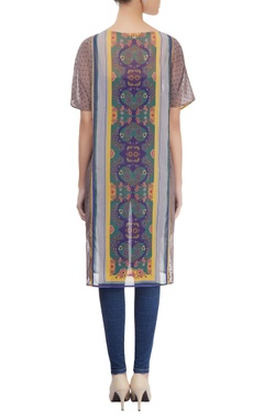 Multi-colored long printed kurta