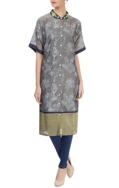 Grey printed shirt kurta