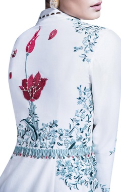 Ivory embroidered jacket with red lehenga